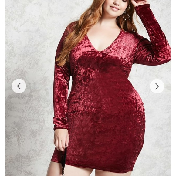 86dc727df1c Valentines Day❤️Forever21 3x Crushed Velvet Dress